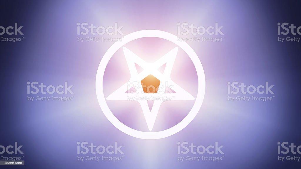 Illuminated pentagram stock photo