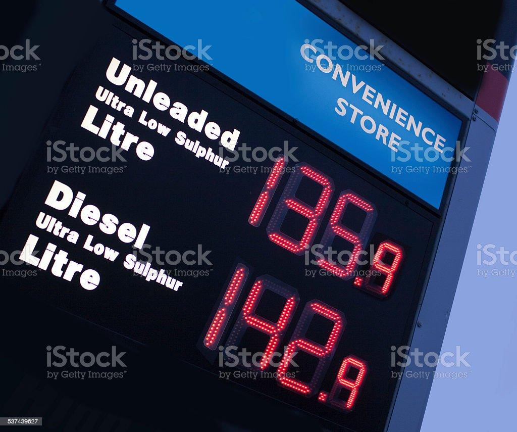 Illuminated  petrol/gas sign stock photo