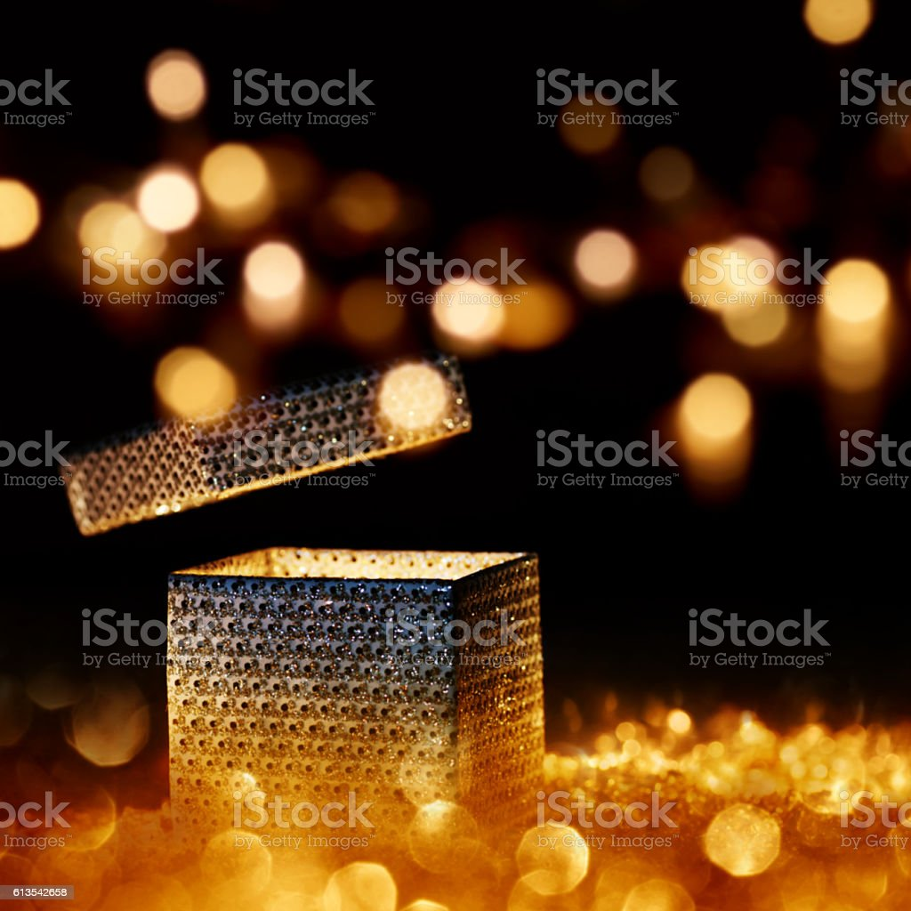 Illuminated present for special moments stock photo