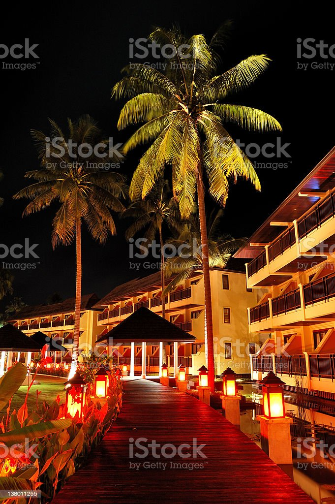 Illuminated relaxation area of luxury hotel, Koh Chang island, Thailand royalty-free stock photo