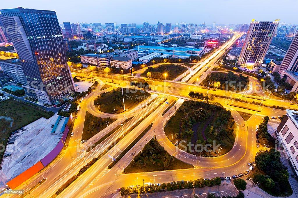 illuminated road junction in midtown of hefei stock photo