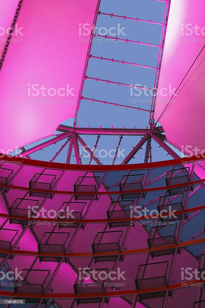 illuminated roof with reflections stock photo