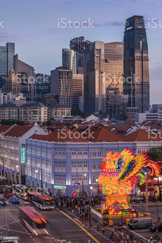 Illuminated rooster to celebrate the Lunar New Year stock photo