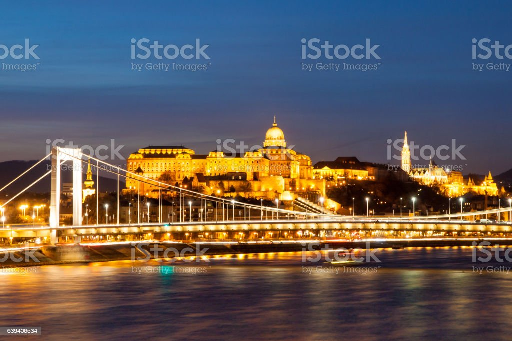 Illuminated Royal Buda Castle above Danube River by night in stock photo