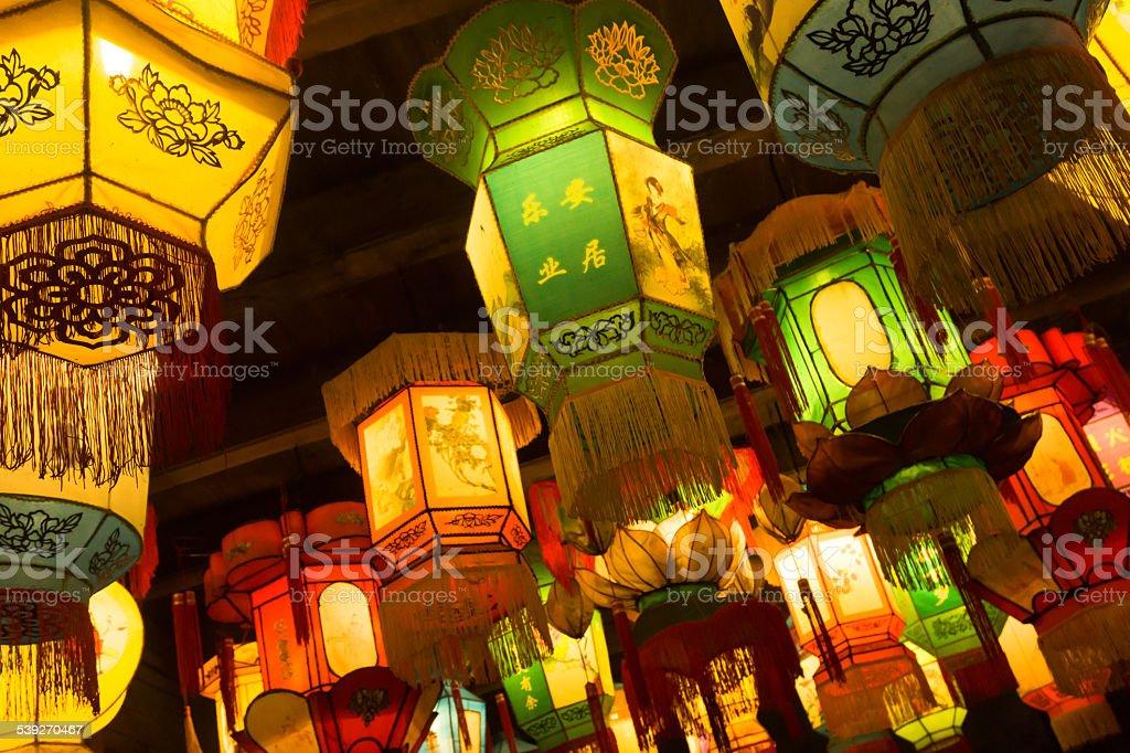 illuminated royal style chinese traditional lanterns stock photo