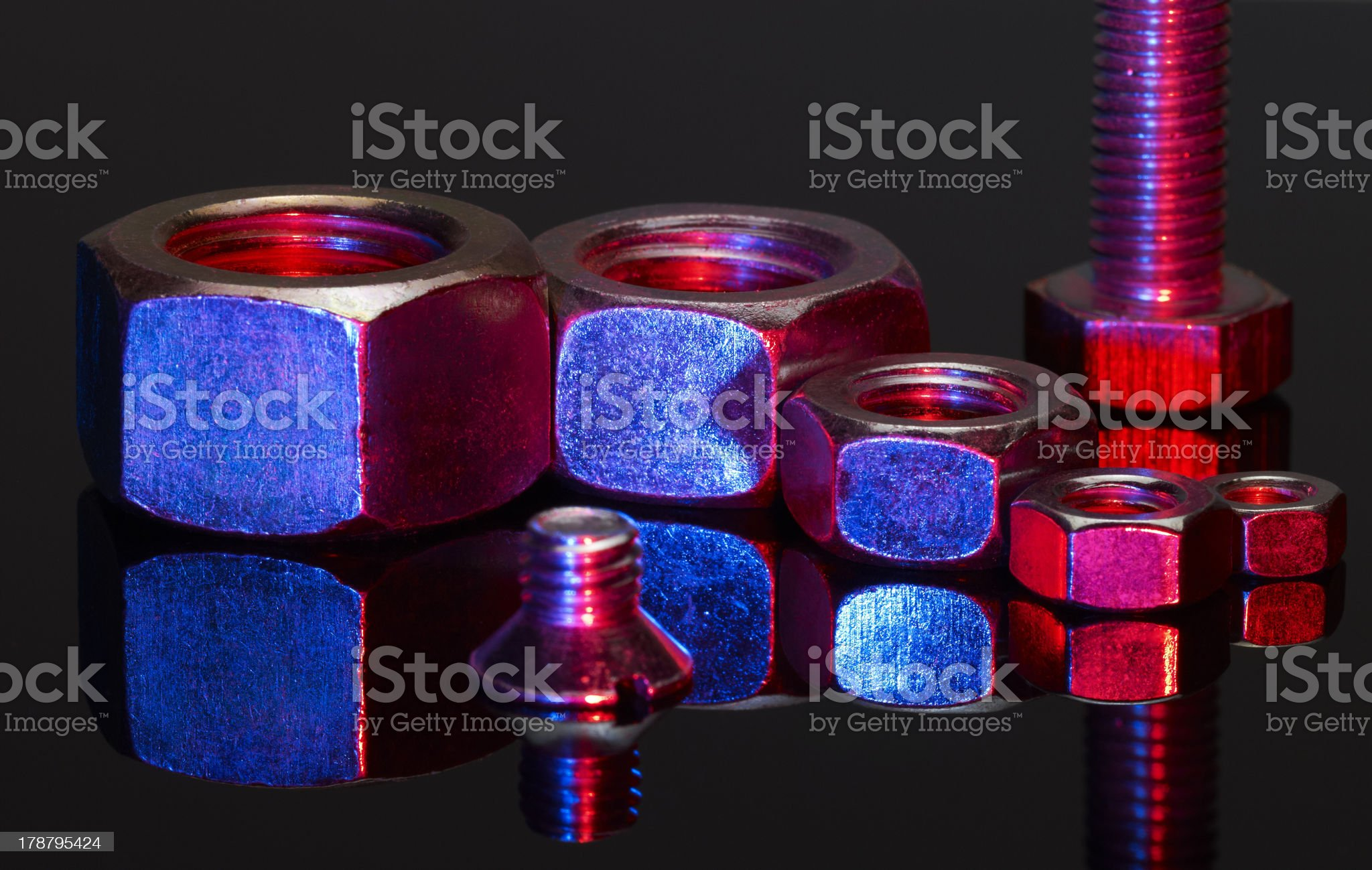 illuminated screw and nuts royalty-free stock photo