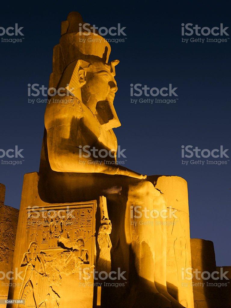 illuminated sculpture of Ramses II royalty-free stock photo