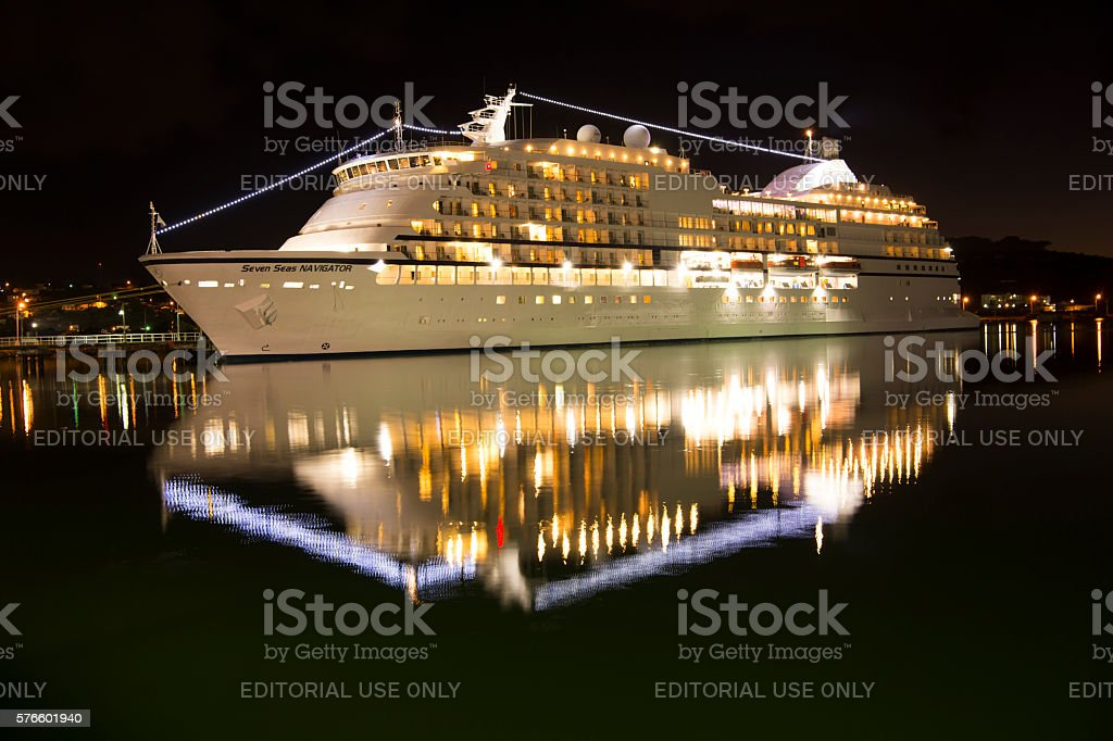 Illuminated Seven Seas Navigator ship stock photo