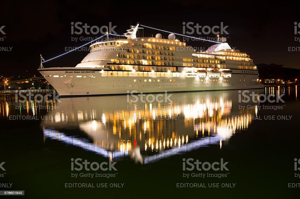 Illuminated Seven Seas Navigator ship stock photo