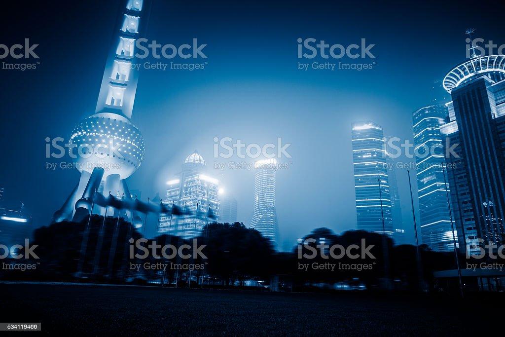 illuminated shanghai langmark stock photo