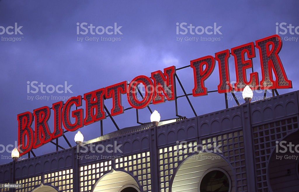 Illuminated Sign at Brighton Pier. East Sussex. England royalty-free stock photo