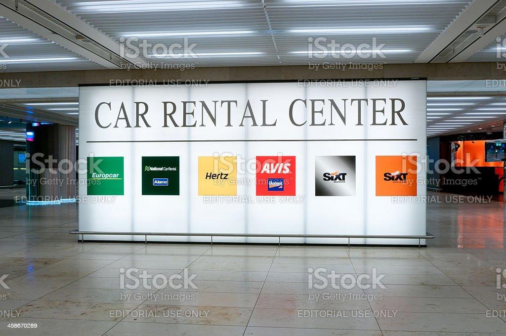 Illuminated sign of the Car Rental Center at Frankfurt airport royalty-free stock photo