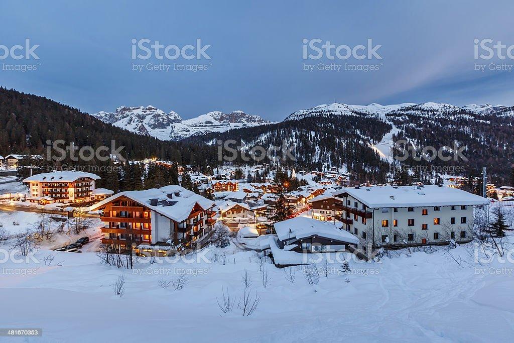 Illuminated Ski Resort of Madonna di Campiglio in the Evening stock photo