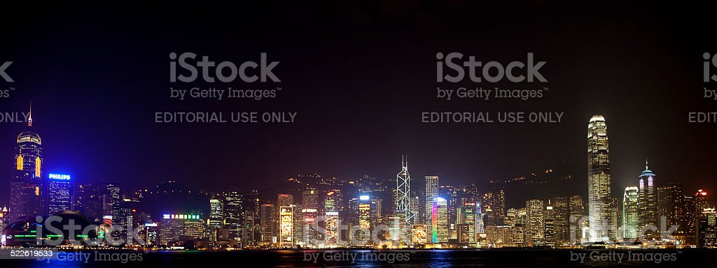 Illuminated Skyline of Hong Kong stock photo