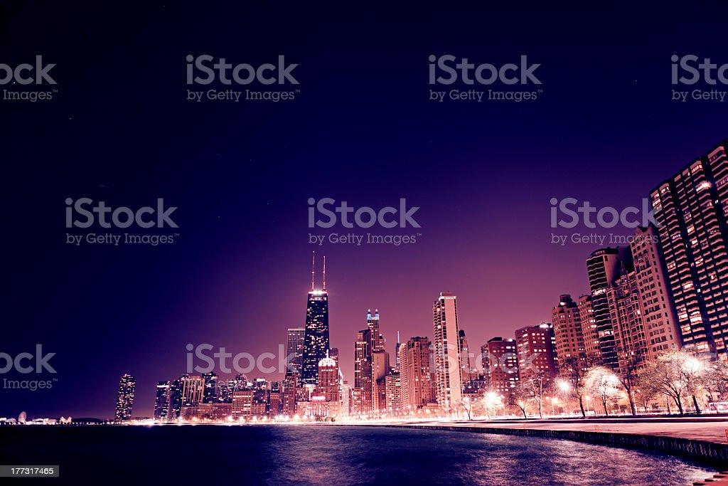 Illuminated skyscraper city scene of Chicago at night stock photo