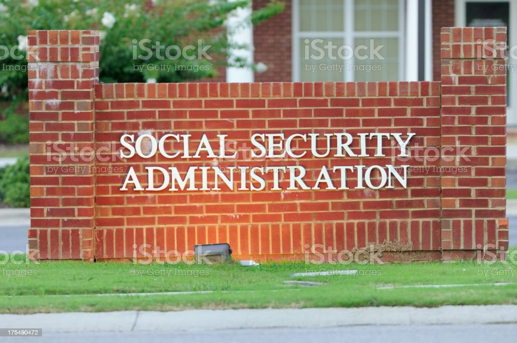 Illuminated social security administration sign royalty-free stock photo
