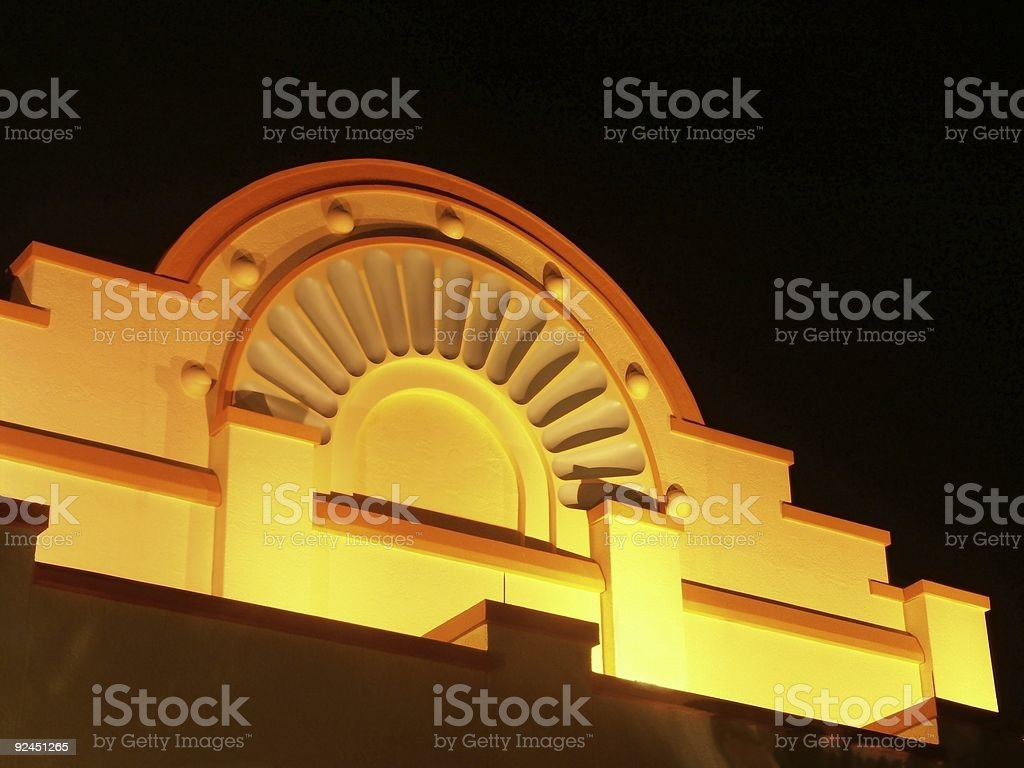 Illuminated Southwestern Facade royalty-free stock photo