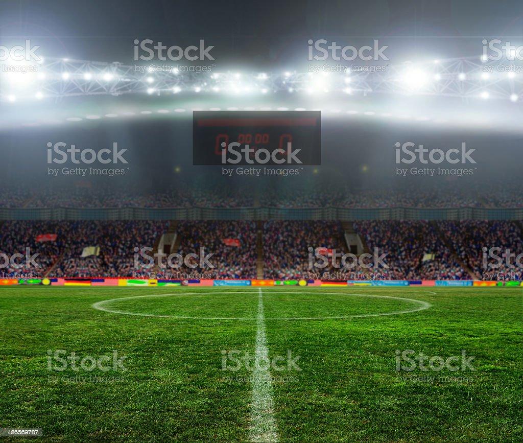 Illuminated stadium at night before the game stock photo