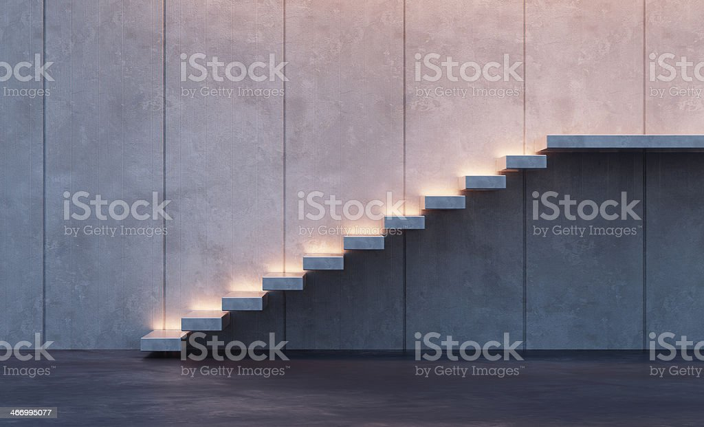 illuminated stairs stock photo