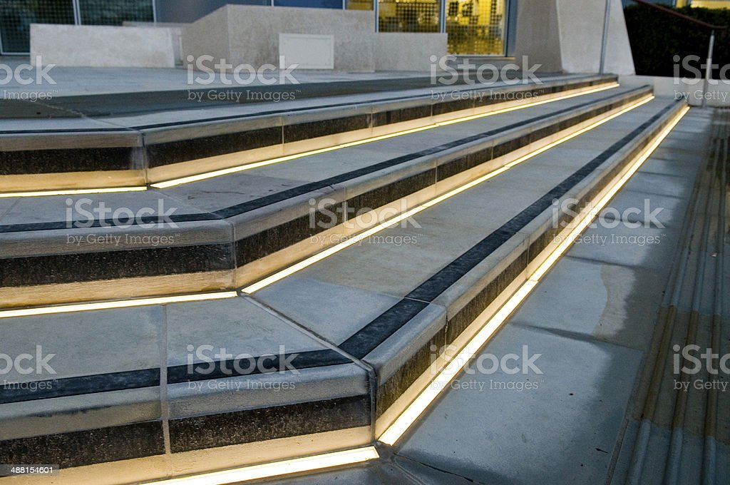 Illuminated steps stock photo