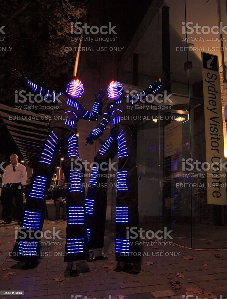 Illuminated street performers,  stilt walkers for Sydney Vivid a royalty-free stock photo
