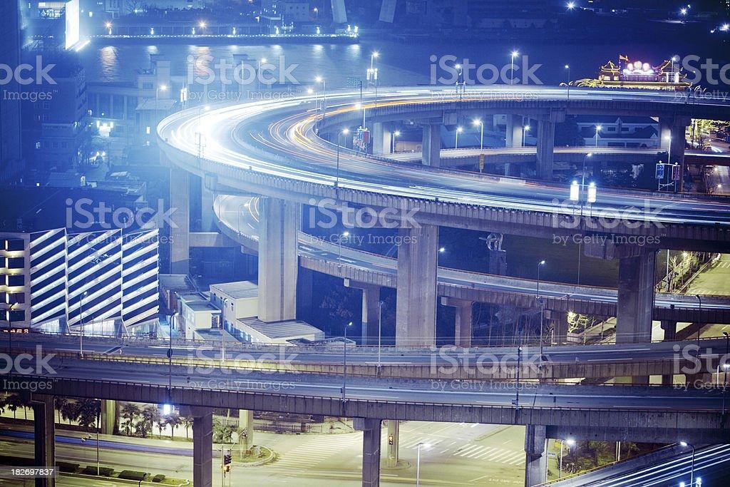 illuminated streets royalty-free stock photo