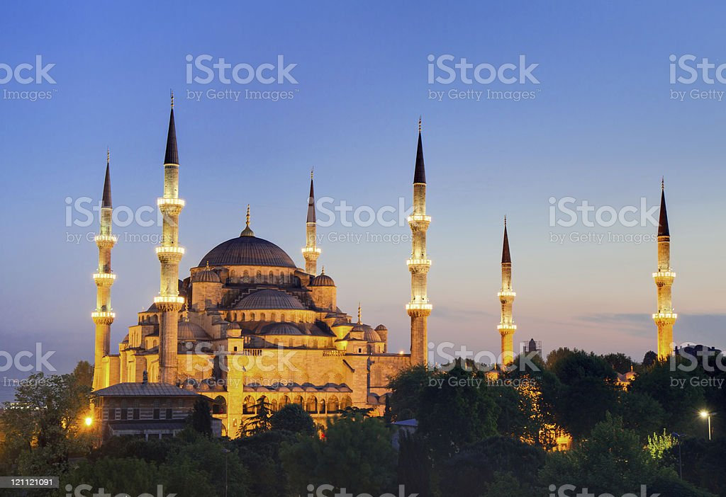 Illuminated Sultan Ahmed Mosque during the blue hour stock photo