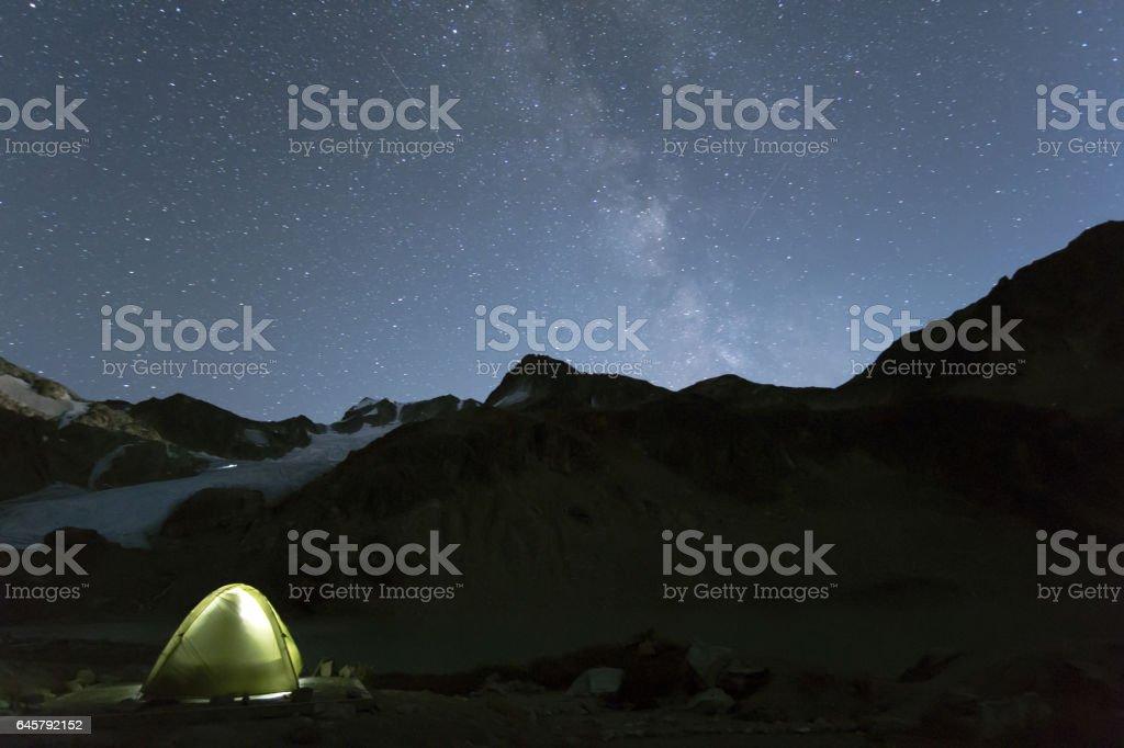 Illuminated tent under night sky stock photo