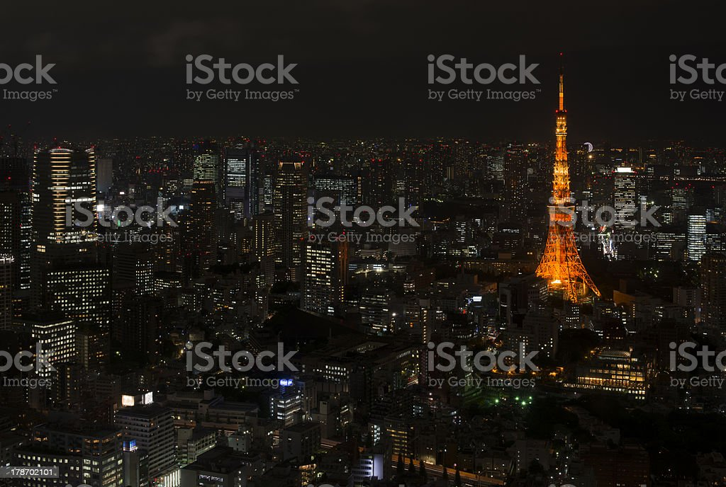 Illuminated Tokyo Tower and skyline at night from Roppongi Hills royalty-free stock photo