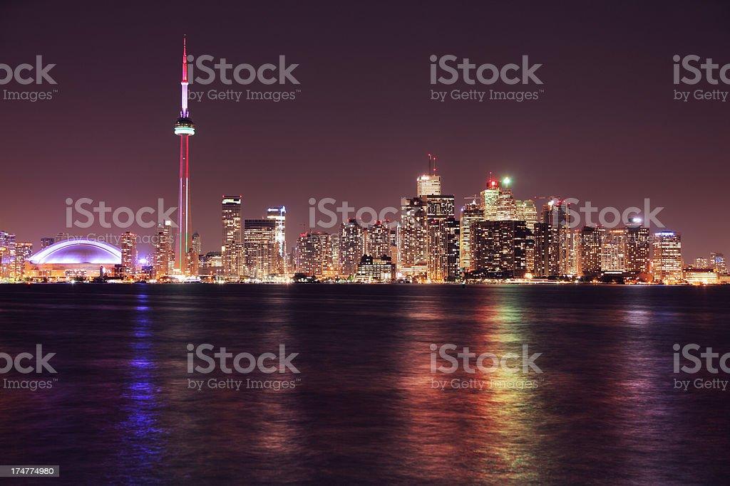 Illuminated Toronto City at Night stock photo