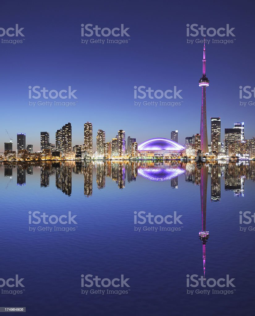 Illuminated Toronto City at Night with Water Reflection royalty-free stock photo