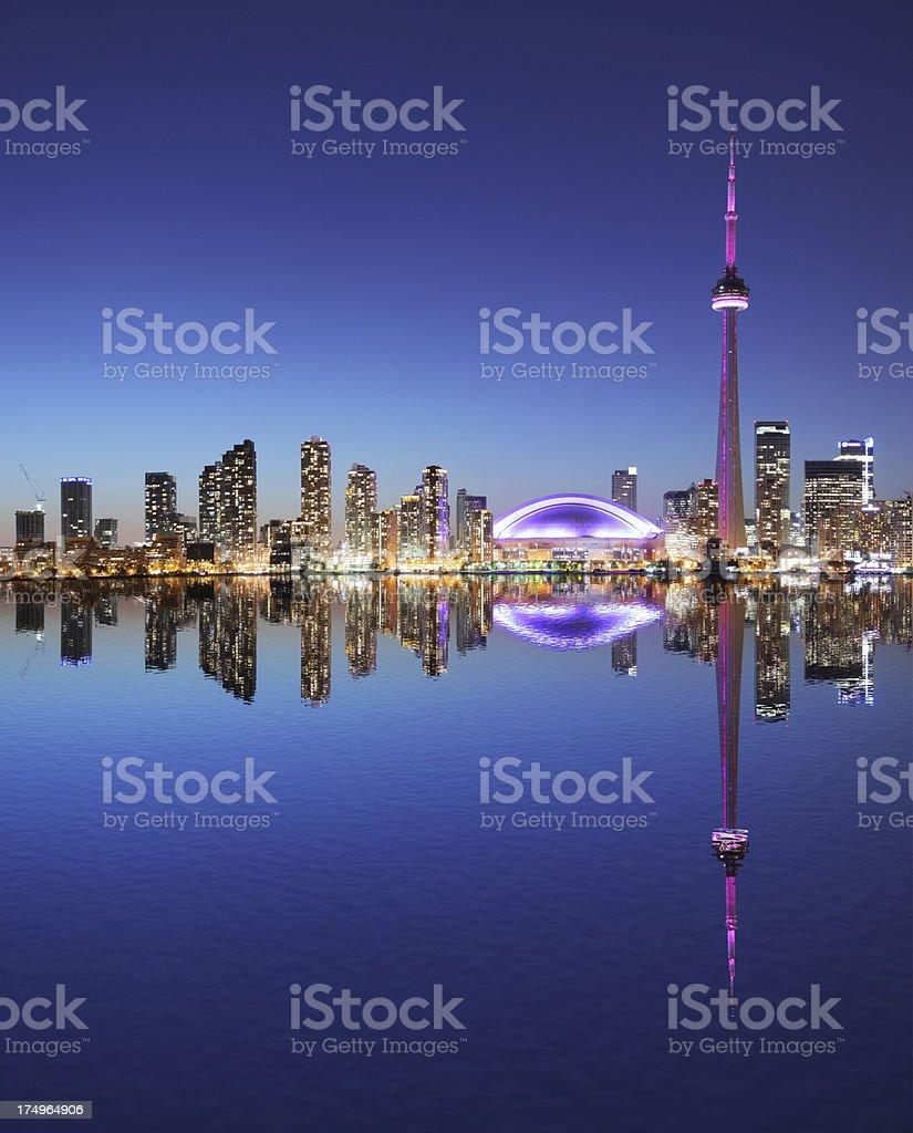 Illuminated Toronto City at Night with Water Reflection stock photo