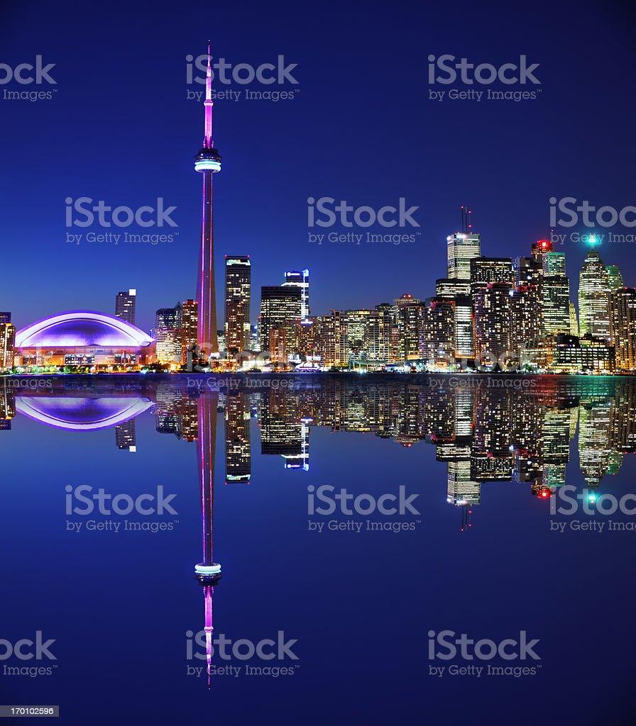 Illuminated Toronto City with Reflection at Night stock photo