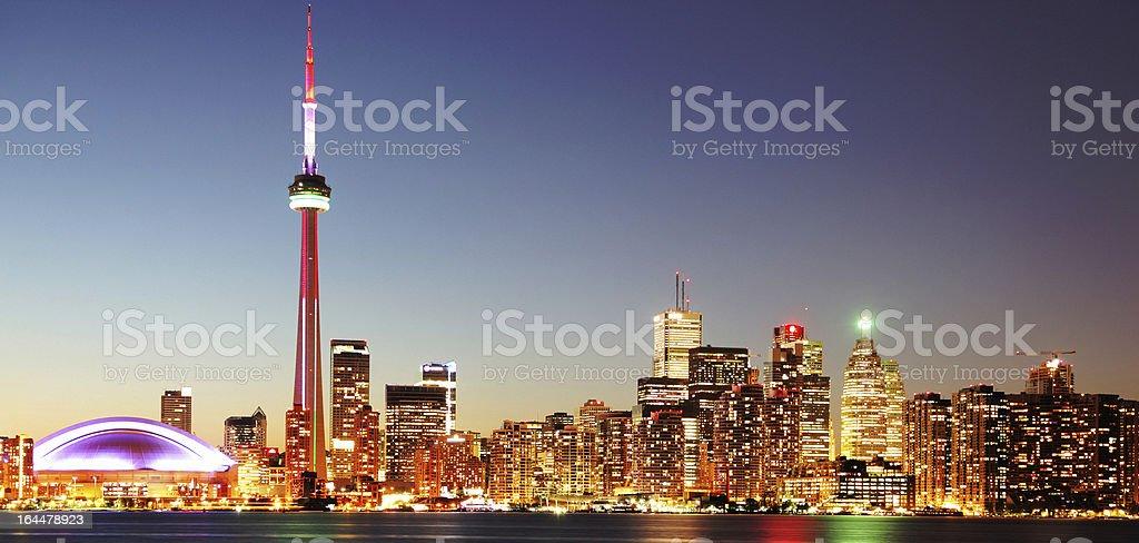 Illuminated Toronto Cityscape at Night stock photo
