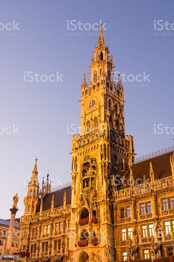 Illuminated Town Hall of Munich stock photo