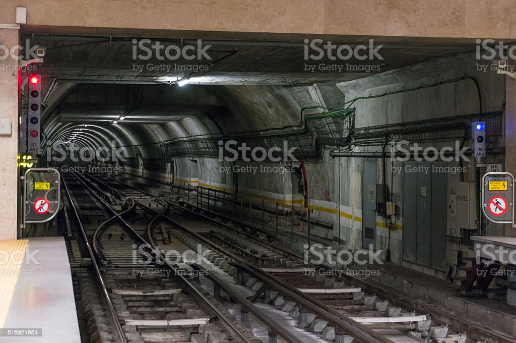 Illuminated Underground Tunnel stock photo