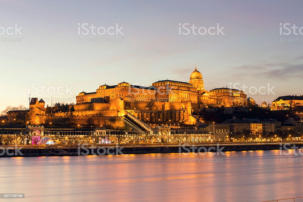 Illuminated view of Castle Hill in Budapest at night stock photo