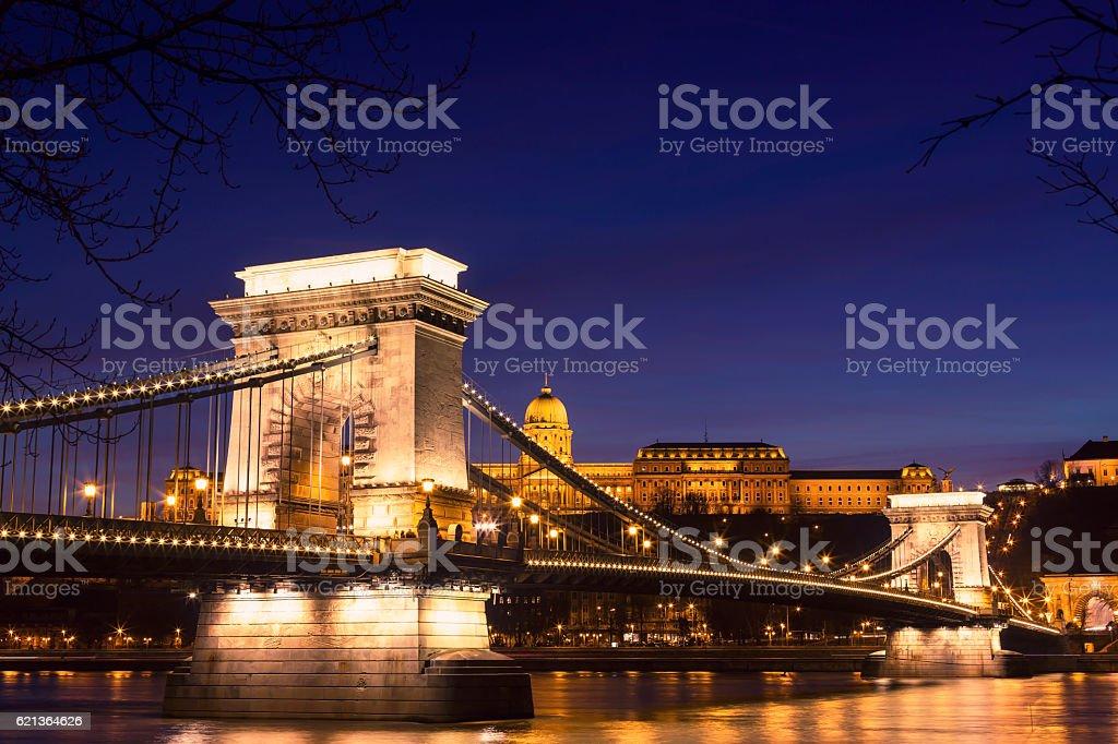 Illuminated view of Chain Bridge in Budapest at night stock photo