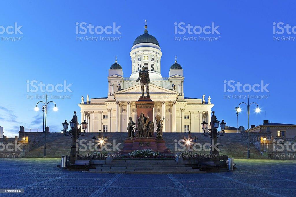 Illuminated view of the Senate Square in Helsinki, Finland stock photo