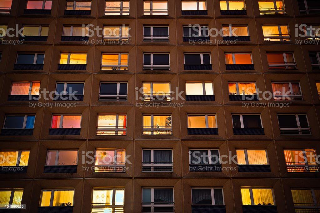 Illuminated Windows Building By Night Nobody stock photo