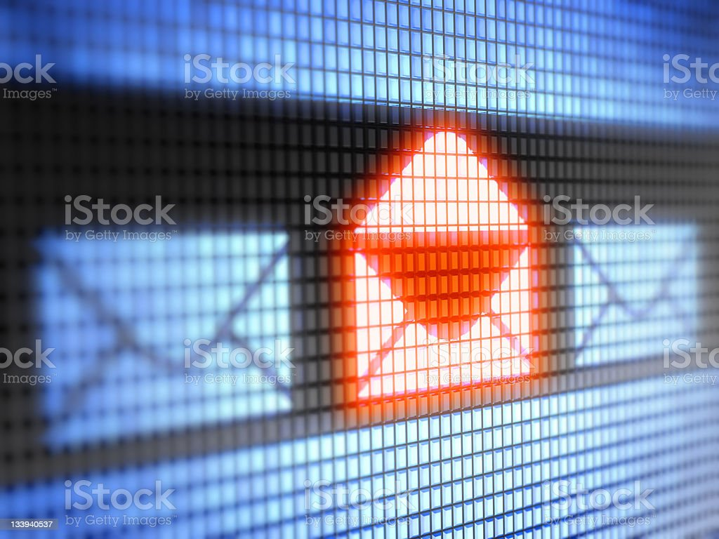 Illuminated you have mail icon stock photo