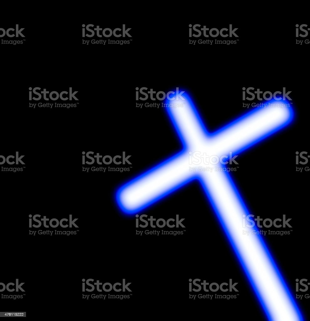 Illuminating white cross isolated on black square background, copy space stock photo