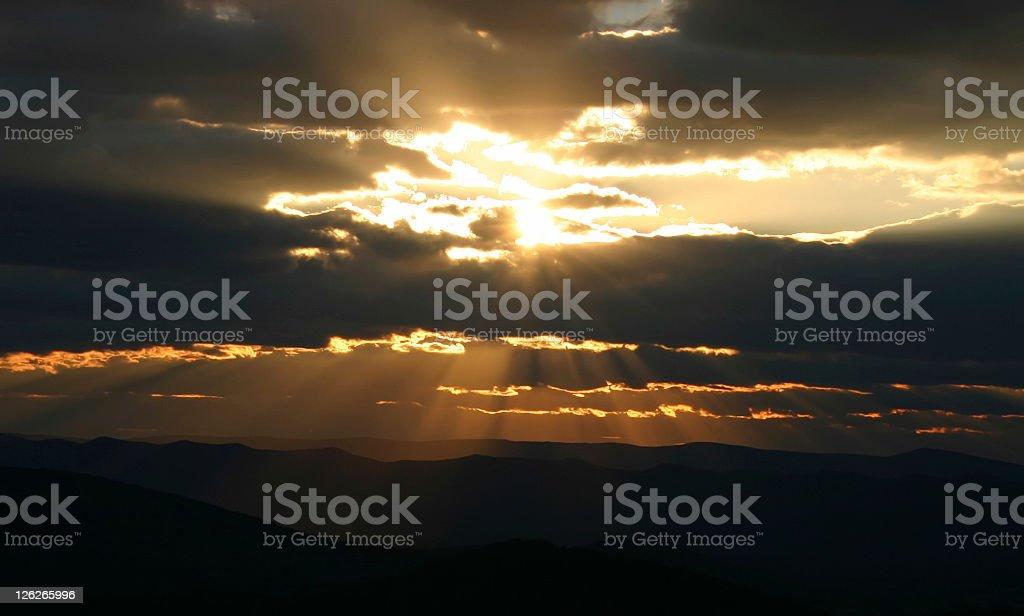 Illumination - dawn over mountains royalty-free stock photo