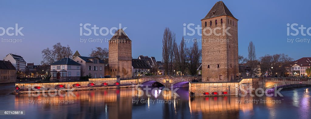Illumination of Strasbourg visit card ponts couverts in December, France stock photo