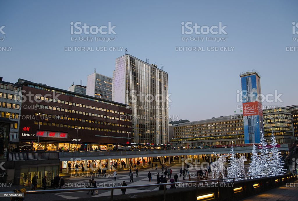 Illuminations at Sergels Square in the center of Stockholm stock photo