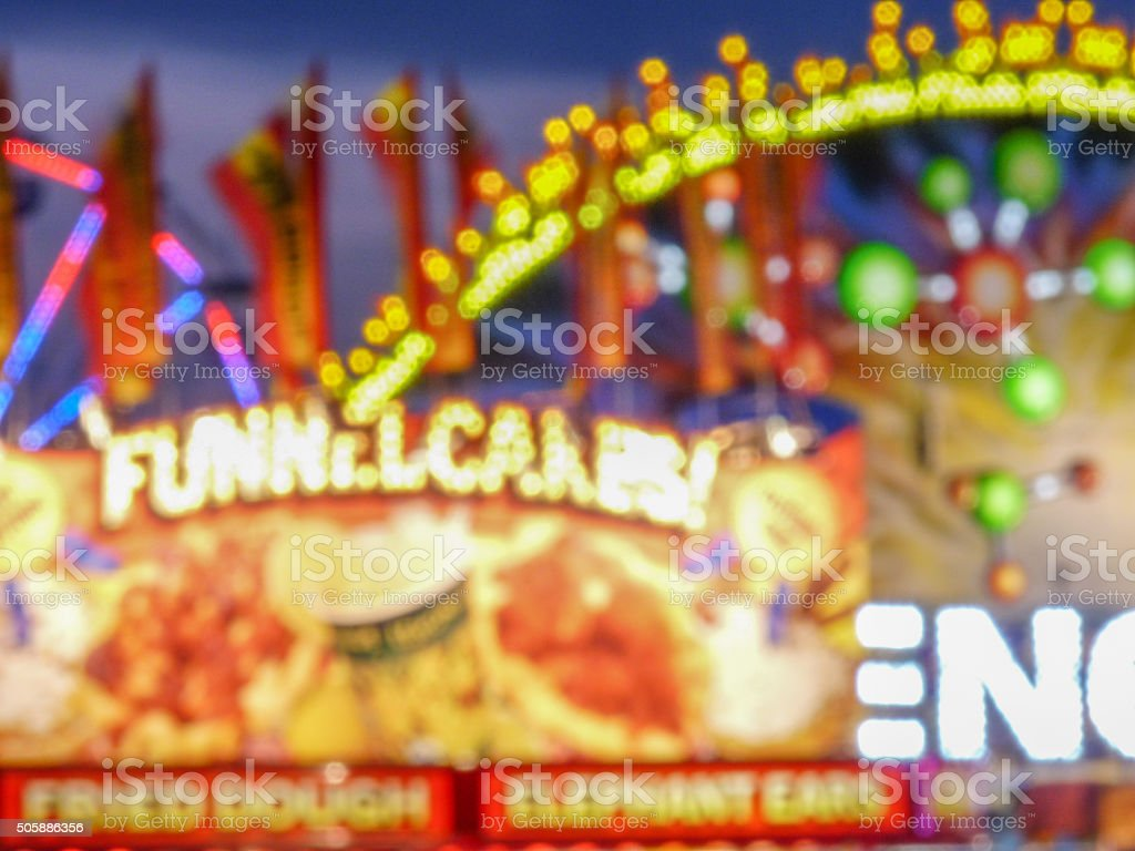 Illuminations Colorful Carnival, Fair Lights at Night Dreamy Focus Bokeh stock photo