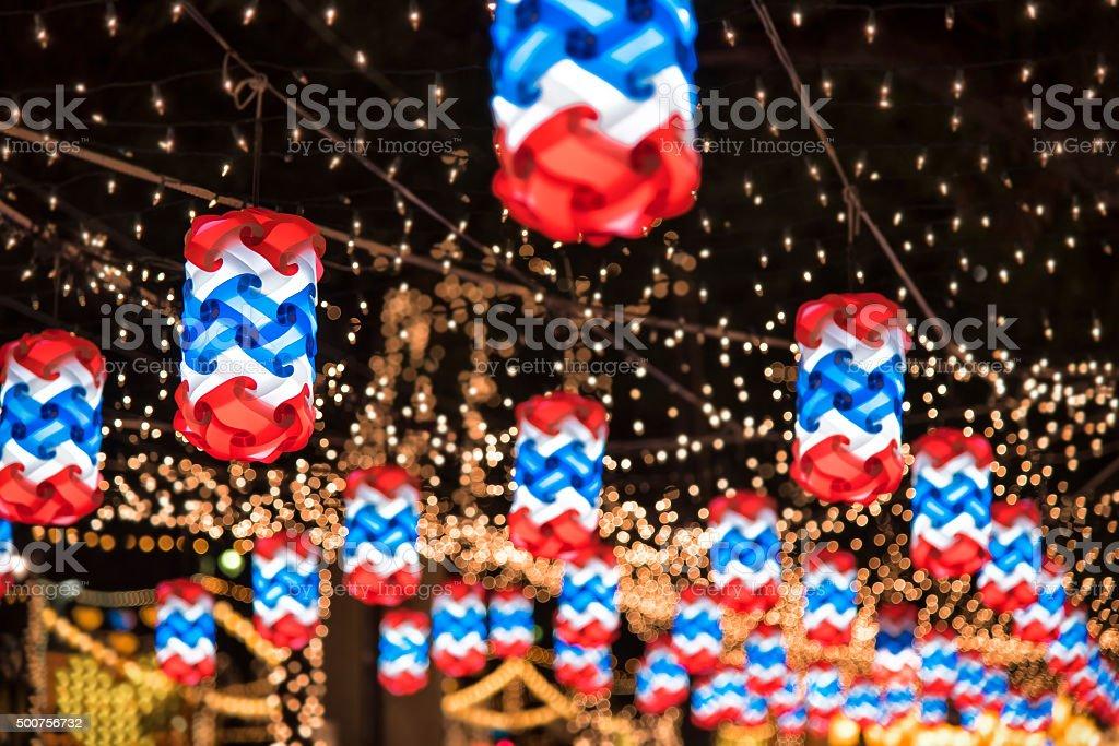 Illumnation light up of Thai Flags Thailand stock photo