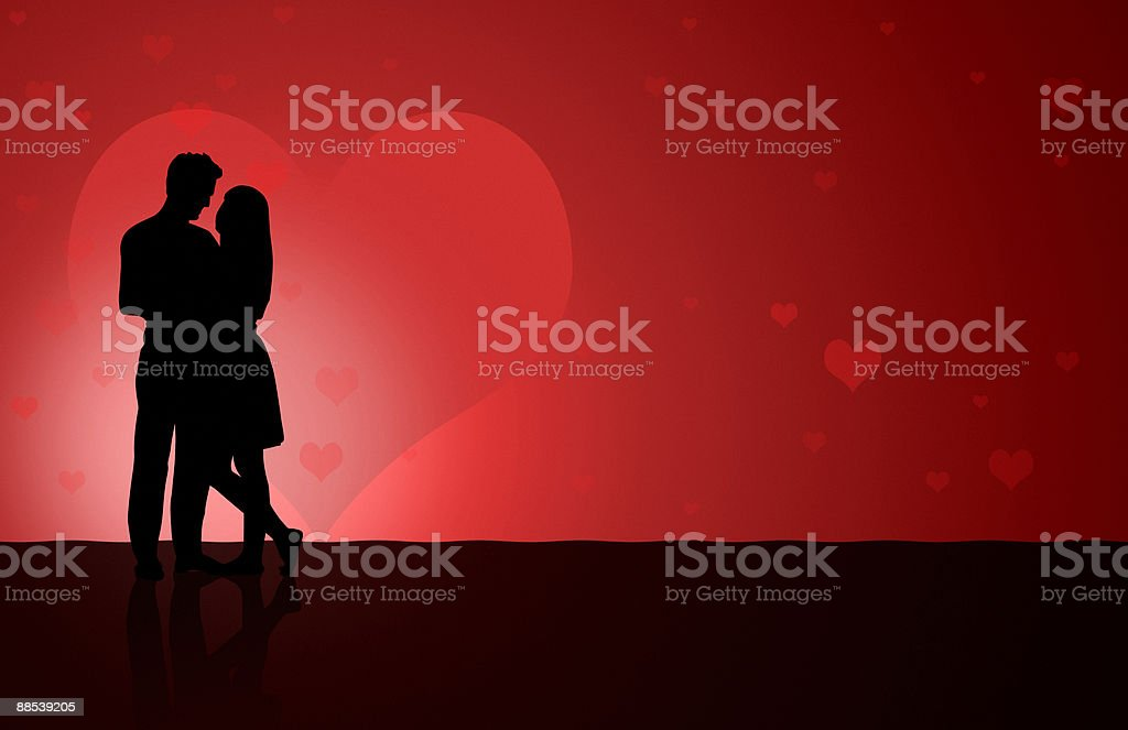 Illustation of a silhouetted couple dancing royalty-free stock photo