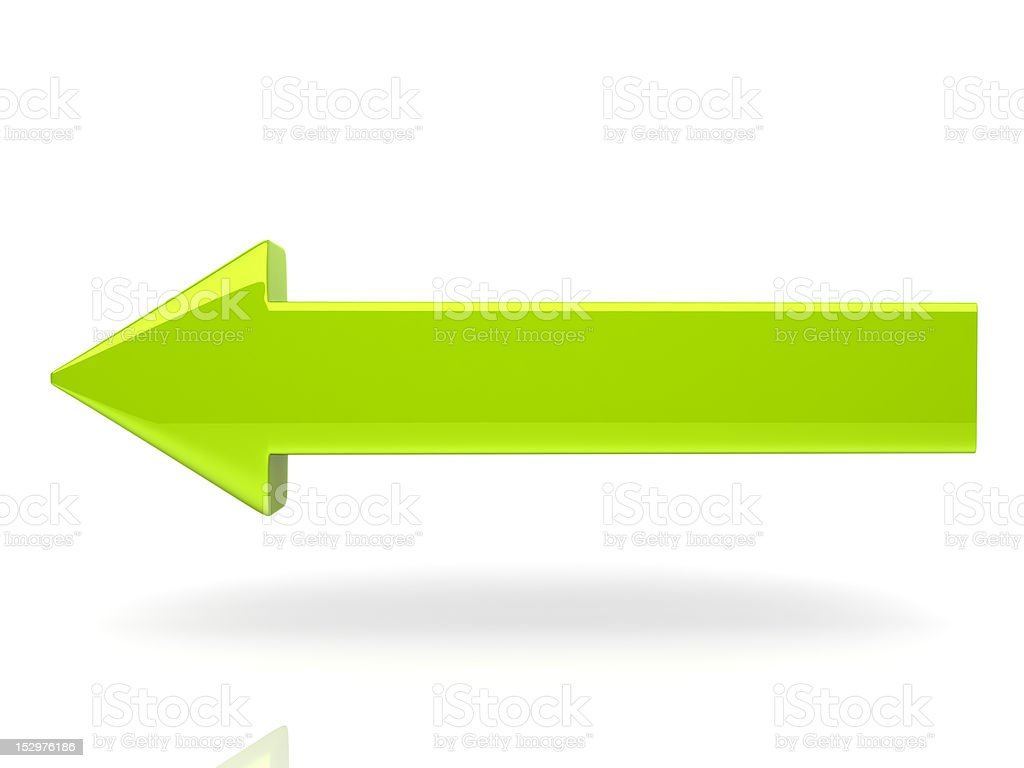 3D illustrated green arrow with a drop shadow isolated stock photo