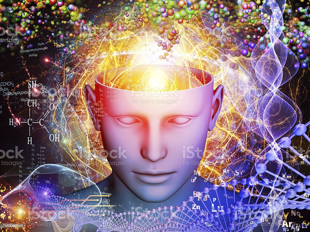 Illustrated human head with open mind revealing chemistry stock photo